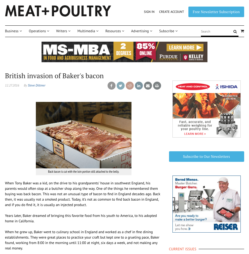 Screen shot of Meat & Poultry article: British invasion of Baker's Bacon