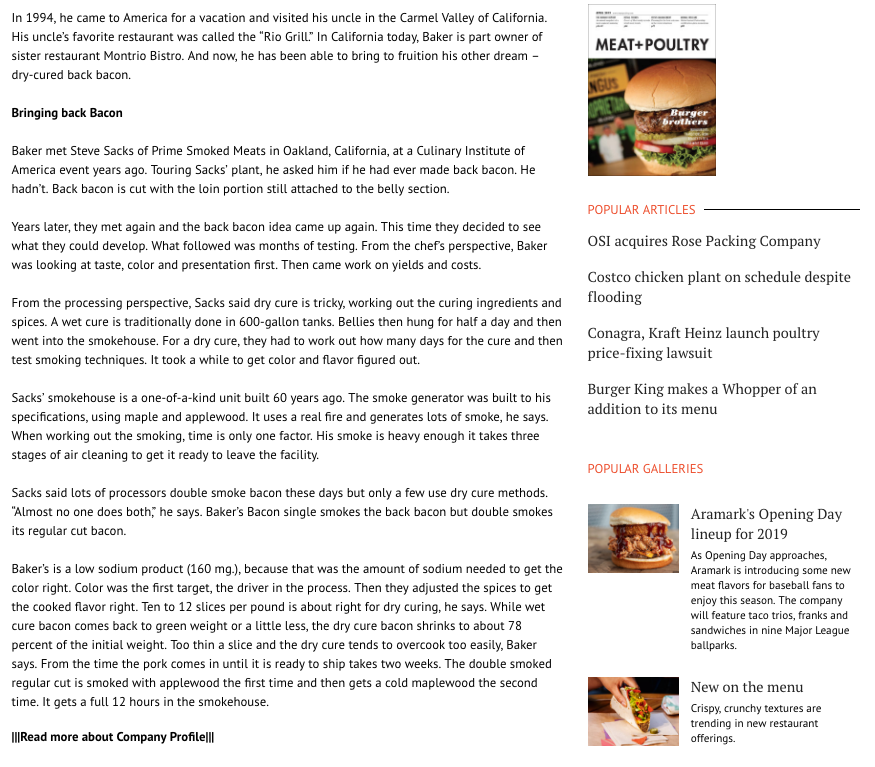 Screen shot of Meat & Poultry article: British invasion of Baker's Bacon Page 2