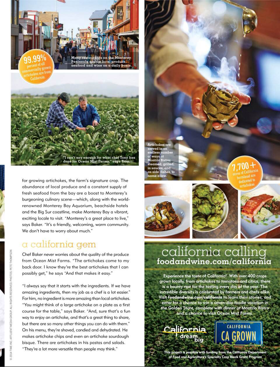 Image of Food and Wine issue about Tony Baker