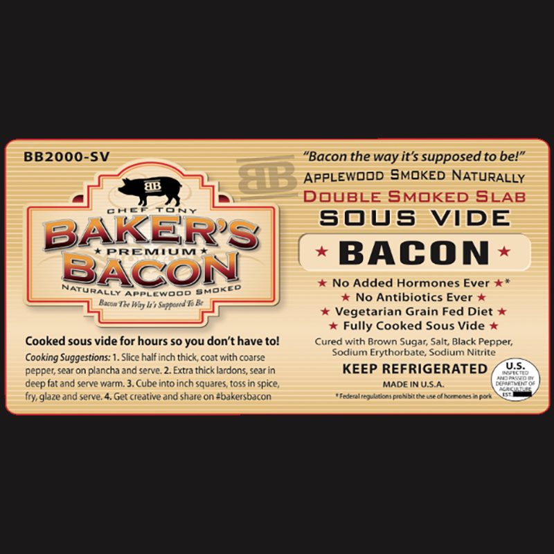 Baker's Bacon sous vide label