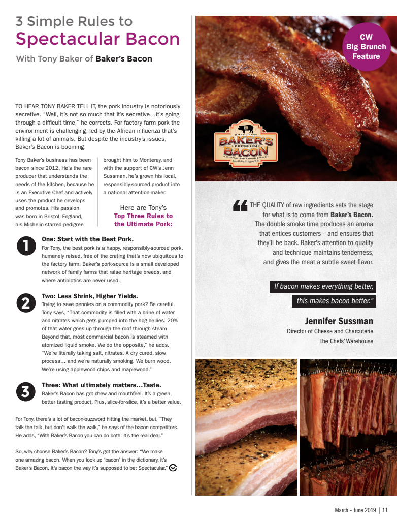 Screen capture of article on Chef's Warehouse - 3 Simple Rules to Spectacular Bacon