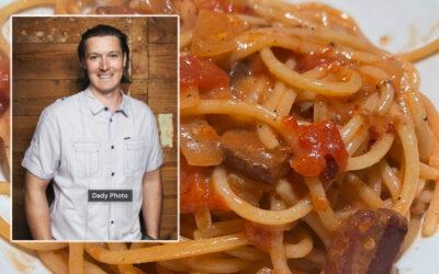 Rigatoni Amatriciana w/ Sautéed Spicy Shrimp and Parmesan Reggiano with Jason Dady